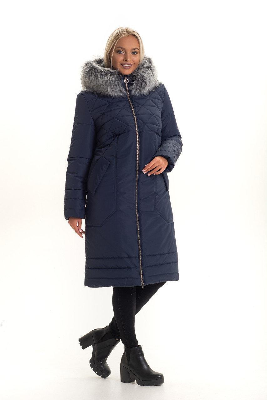 Женское зимнее пальто с искусственным мехом, размеры 44-56