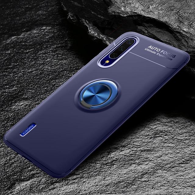 Xiaomi Mi A3 чехол накладка с магнитным кольцом синим