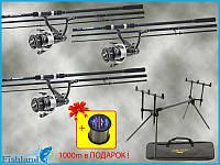 Удилища Fishing Roi 3.9м 135г 3-х секц. + Катушки Select 6000 с бейтранером + Род-под Carp Pro на 3 удилищ