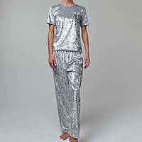 Женская пижама штаны/футболка мраморный велюр M-7046 серебро, фото 1