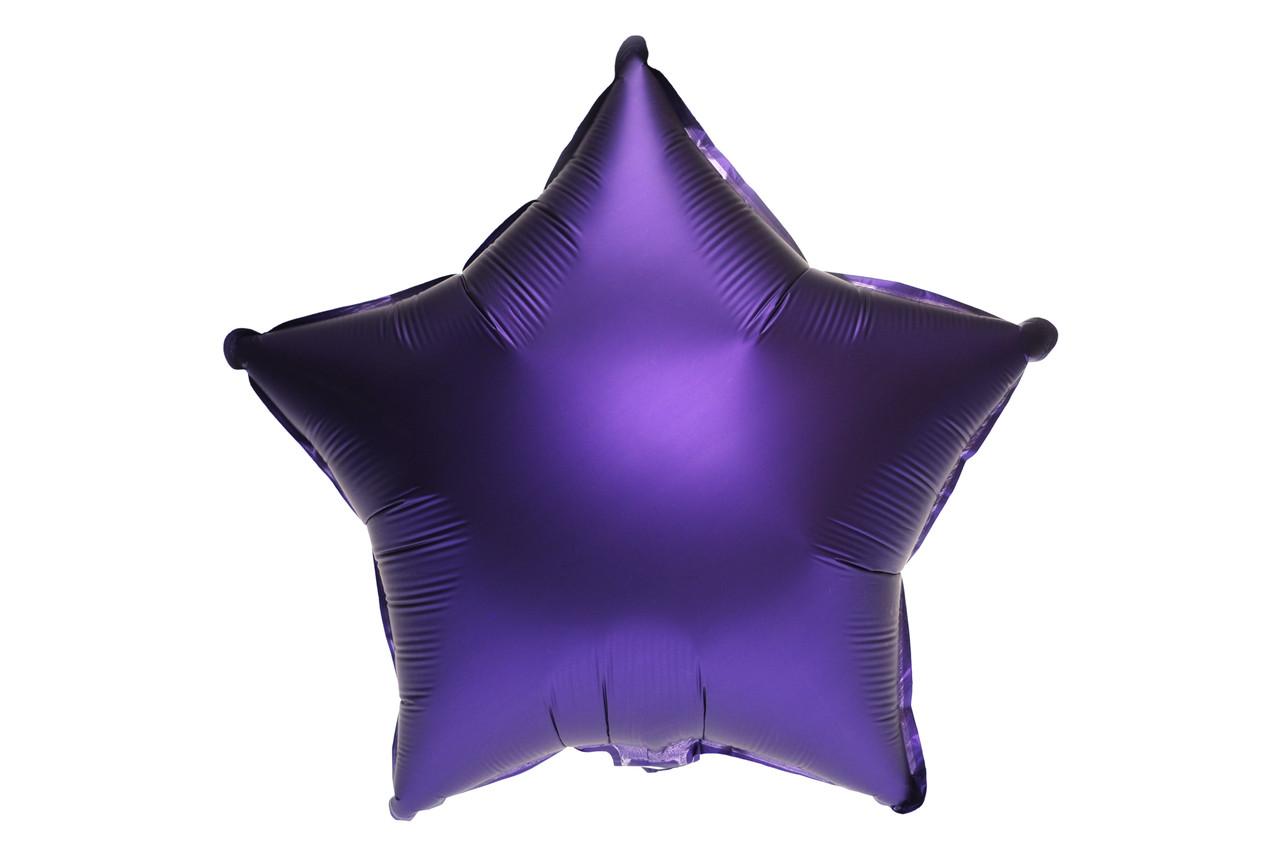 """Фольгированная звезда  сатин Пурпурный 18""""(45см)"""