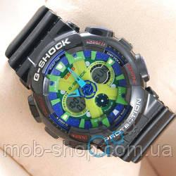 Чоловічий наручний годинник Casio GA-120 Black/Blue/green Light кварцовий і електронний механізм