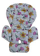 Чехол DavLu к стульчику для кормления Peg Perego Prima Pappa Dinner Цветы на молочном (Ch-703), фото 1