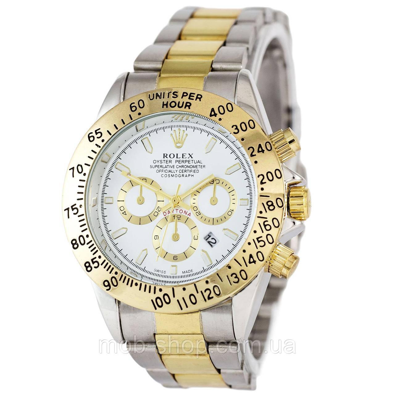 Наручные часы Rolex Daytona Quartz Date Silver-Gold-White