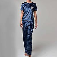 Женская пижама штаны/футболка мраморный велюр M-7066 темно-синяя, фото 1