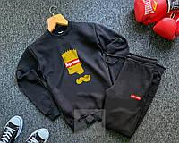 Мужской спортивный костюм черный  Суприм симпсоны Supreme реплика свитшот + штаны утепленный на флисе