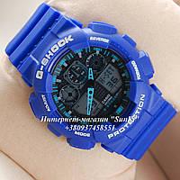 Неубиваемые спортивные наручные часы Casio G-shock GA-100 разных цветов Белый Черный Синий