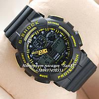 Неубиваемые спортивные наручные часы Casio G-shock GA-100 разных цветов Желтый Черный Черный