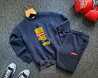 Мужской спортивный костюм синий  Суприм симпсоны Supreme реплика свитшот + штаны утепленный на флисе