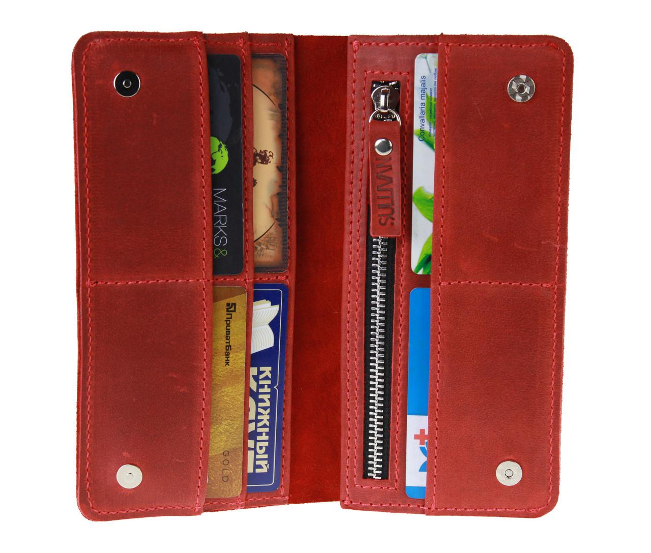 Кошелек женский кожаный большой SULLIVAN kgb50(10) красный