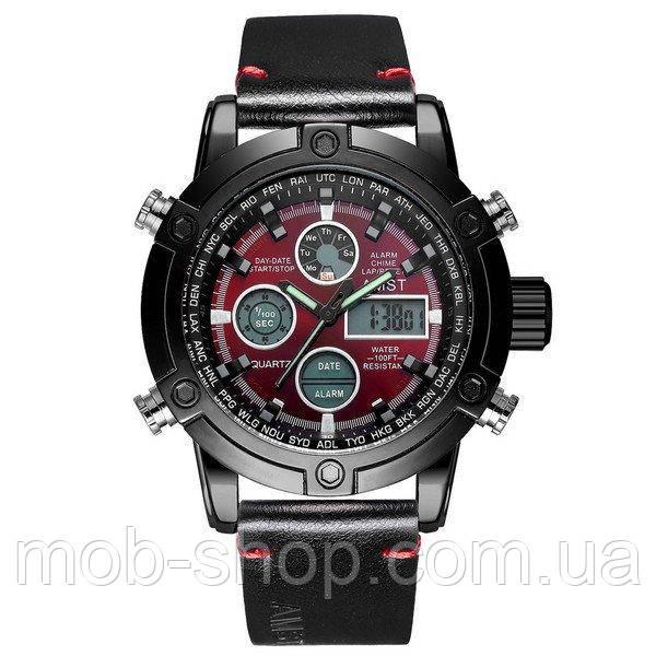 Наручные часы AMST 3022 Black-Red Smooth Wristband Оригинал Годовая гарантия на механизм