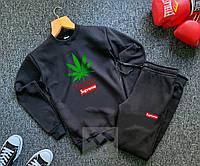 Мужской спортивный костюм черный Суприм Supreme реплика свитшот + штаны утепленный на флисе