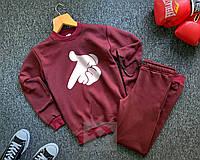 Мужской спортивный костюм бордовый Суприм Supreme реплика свитшот + штаны утепленный на флисе
