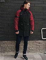 Зимняя парка Staff look black and red. [Размеры в наличии: XS,S,M,L,XXL]