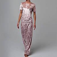 Женская пижама штаны/футболка мраморный велюр M-7076 пудра, фото 1