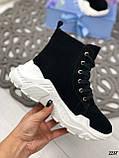 ТОЛЬКО на 23 см! Женские осенние ботинки черные натуральная замша, фото 2