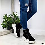 ТОЛЬКО на 23 см! Женские осенние ботинки черные натуральная замша, фото 3