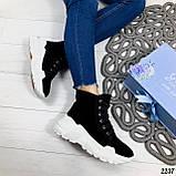 ТОЛЬКО на 23 см! Женские осенние ботинки черные натуральная замша, фото 5