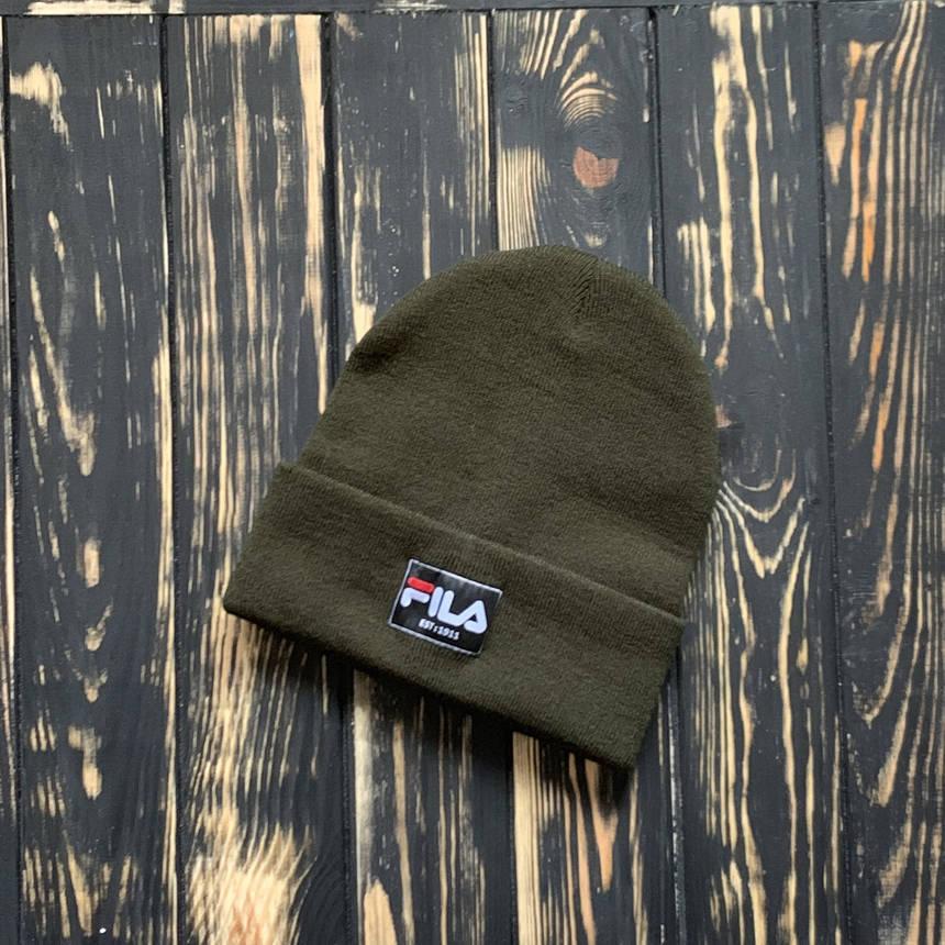 Мужская шапка Fila (Фила) хаки,мужск зимняя, фото 2