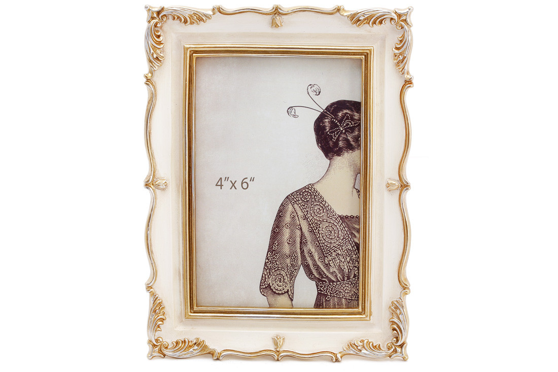 Рамка для фото Тулуза, 20.5см, цвет - слоновая кость с золотом, полистоун (450-179)