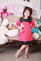 Красивое трикотажное детское платье для девочки с бантиком и вставками из экокожи