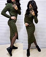 Теплое вязаное платье с высоким горлом, хаки, фото 1