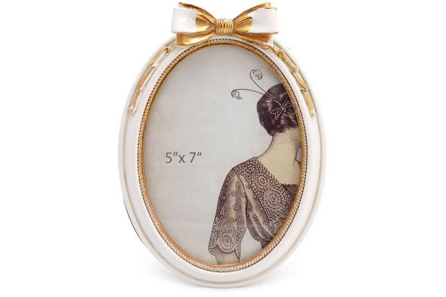 Рамка для фото овальная Бант, 21см, цвет - сливочно-белый с золотой патиной, полистоун (450-181), фото 2