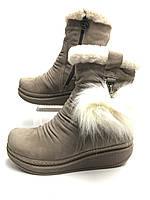 Чоботи шкіряні зимові жіночі з натуральним хутром бежеві. Сапоги  зимние женские  кожаные с натуральным мехом