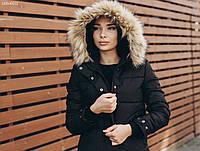 Женская черная зимняя куртка с мехом стафф / Жіноча зимова курточка з хутром Staff vel black MBM0031