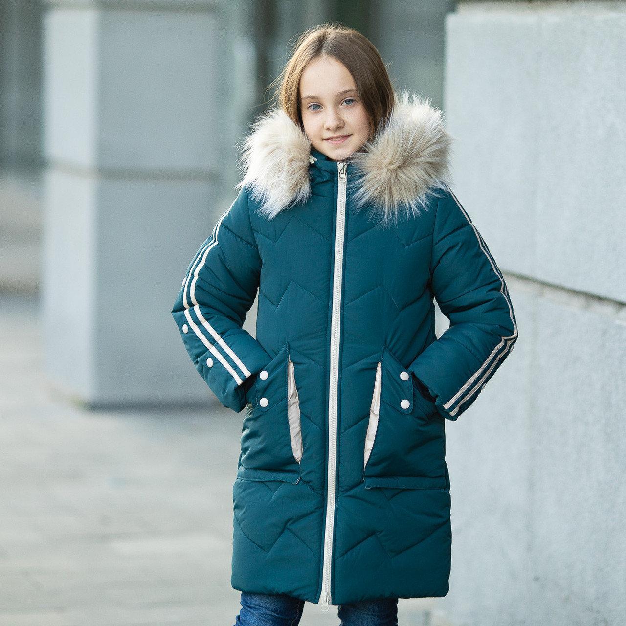 """Практичная водонепроницаемая зимняя куртка для девочки""""Кнопки""""3853-4"""