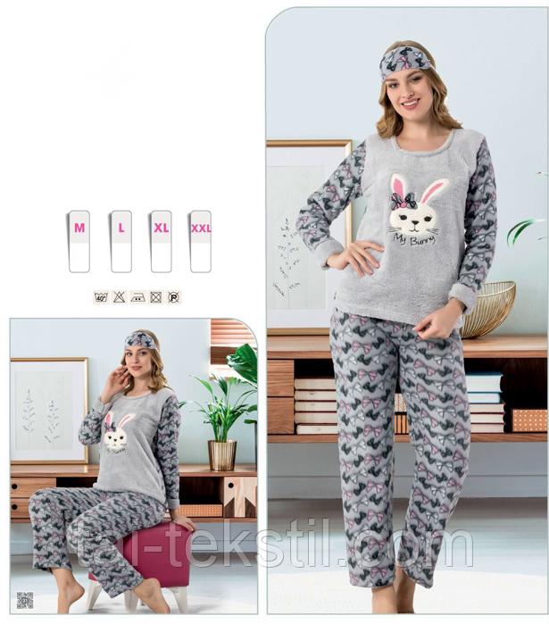 Пижама женская махра+флис и повязка для сна STAR 1011