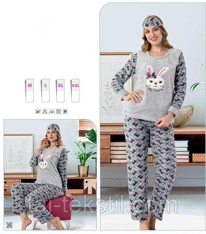 Пижама женская махра+флис и повязка для сна STAR 1011, фото 2