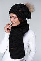 SEWEL Шарф AW515 (One Size, черный, 60% акрил/ 30% шерсть/ 10% эластан)