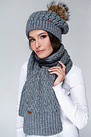 SEWEL Шарф AW515 (One Size, серый, 60% акрил/ 30% шерсть/ 10% эластан)