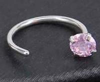 Кольцо, серьга пирсинг для носа с кристаллом