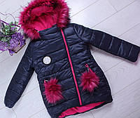 Куртка зимняя #610 для девочек. 7-8-9-10-11-12 лет (122-152 см). Синяя. Оптом.