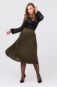 Вязаная юбка плиссе миди