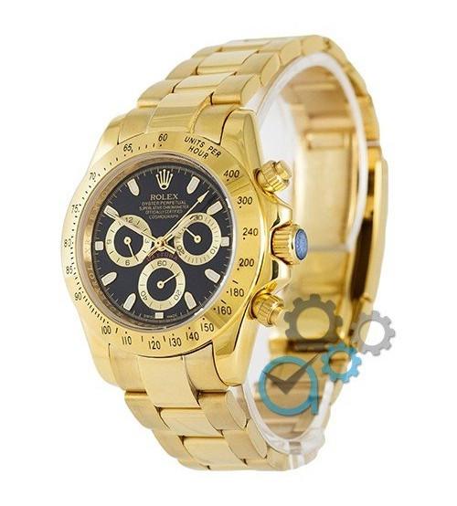 Мужские часы Rolex Daytona AAA Mechanic Gold-Black, механические часы Ролекс Дайтона, элитные часы реплика ААА