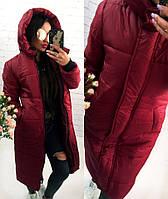 Женское длинное зимнее тёплое пальто пуховик одеяло на ситепоне с глубоким капюшоном бордовое S M L, фото 1