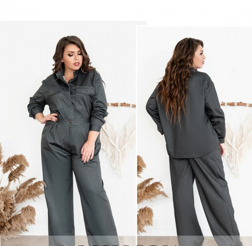 / Размер 48-50 / Женский костюм двойка из мягкой, приятной ткани 725-1-Серый
