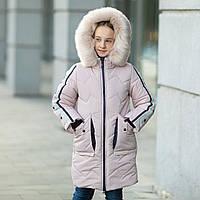 """Практичная водонепроницаемая зимняя куртка для девочки""""Кнопки""""3853-4, фото 1"""