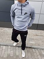 Модный мужской зимний костюм Nike серый с черным (реплика)