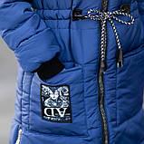 """Зимняя курточка для девочки украшена мехом на капюшоне и молниями по бокам""""Оливи"""", фото 6"""