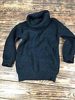 Объемный теплый свитер с горловиной-хомутом черный
