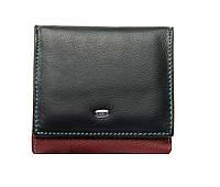 Женский кожаный кошелек 10*9,5*2,5 черный, фото 1