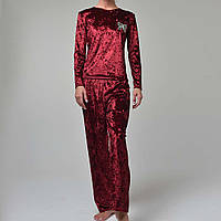 Женская пижама штаны/кофта мраморный велюр M-7008 бордо