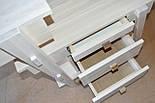Туалетный столик и табурет в белом цвете со вставками из ореха, фото 5