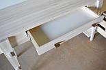 Туалетный столик и табурет в белом цвете со вставками из ореха, фото 8