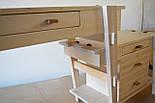 Туалетный столик и табурет в белом цвете со вставками из ореха, фото 9