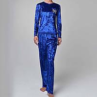 Женская пижама штаны/кофта мраморный велюр M-7018 электрик, фото 1